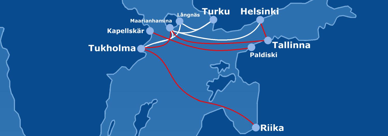 Reittikartta Tallink Silja