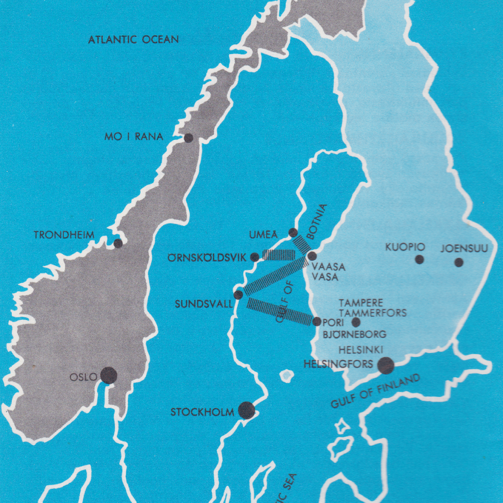 Reittikartta Vaasanlaivat
